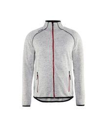 Neulottu takki, meleerattu harmaa/punainen