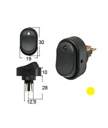Keinukytkin 0-1 LED keltainen 12V