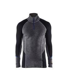 Vetoketjullinen aluspaita WARM, 100% merinovilla Harmaa/Musta Blåkläder
